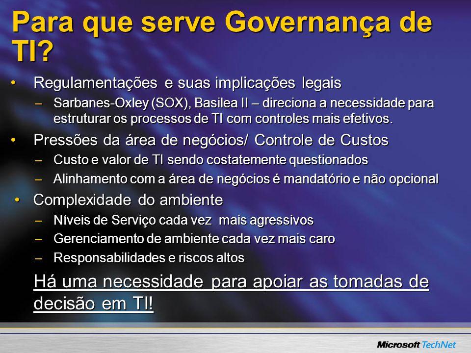 Para que serve Governança de TI.