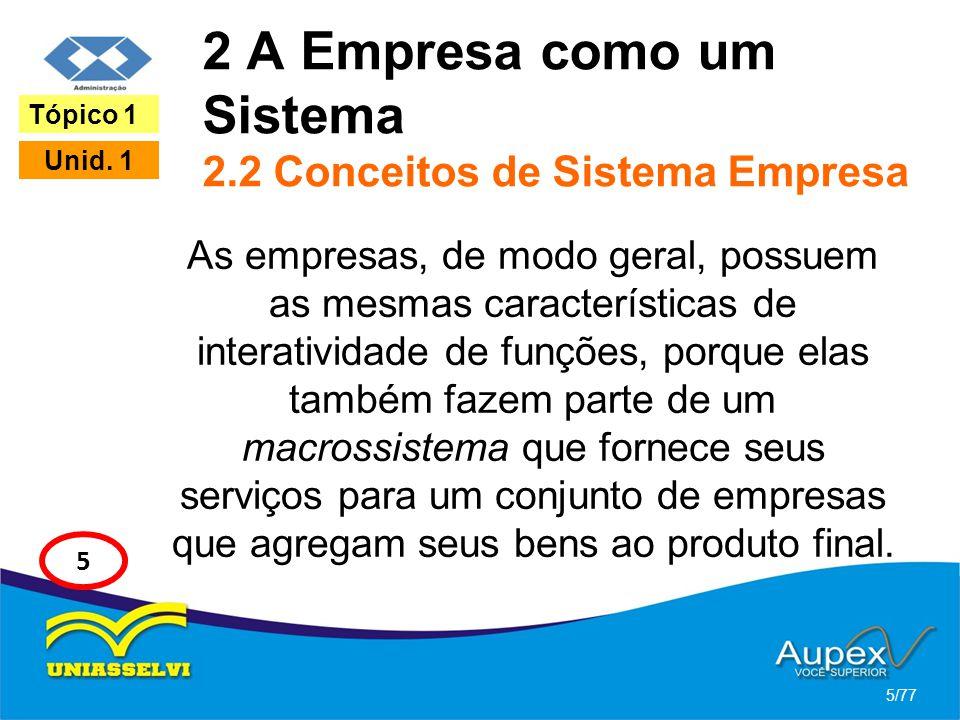 2 A Empresa como um Sistema 2.2 Conceitos de Sistema Empresa As empresas, de modo geral, possuem as mesmas características de interatividade de funçõe