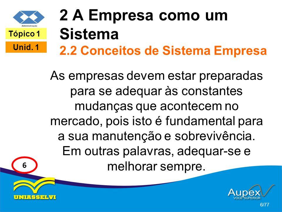 2 A Empresa como um Sistema 2.2 Conceitos de Sistema Empresa As empresas devem estar preparadas para se adequar às constantes mudanças que acontecem n