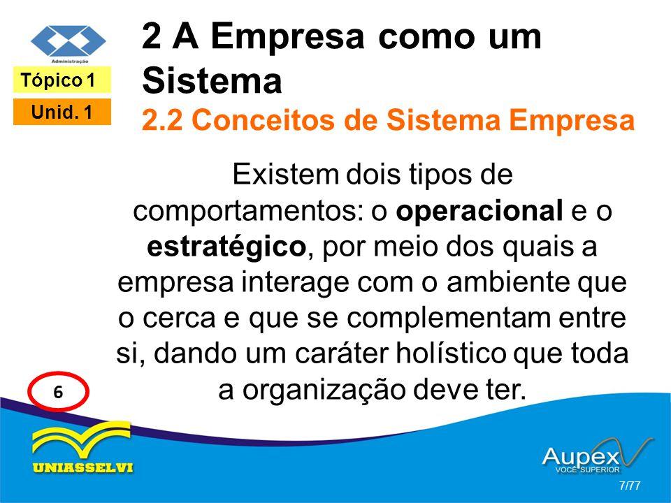 2 A Empresa como um Sistema 2.2 Conceitos de Sistema Empresa Existem dois tipos de comportamentos: o operacional e o estratégico, por meio dos quais a