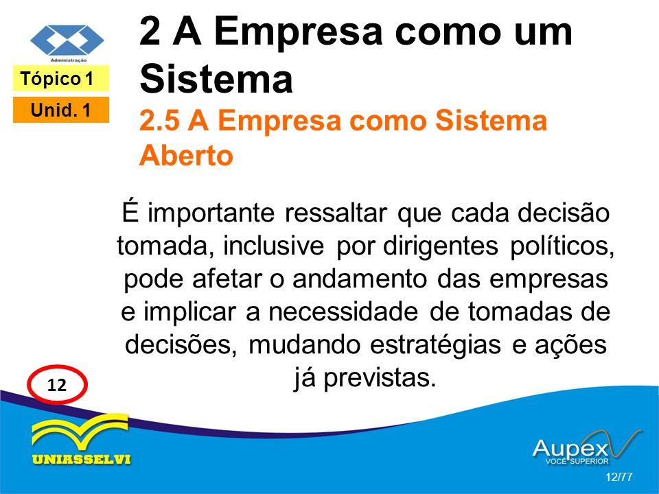 2 A Empresa como um Sistema 2.5 A Empresa como Sistema Aberto É importante ressaltar que cada decisão tomada, inclusive por dirigentes políticos, pode