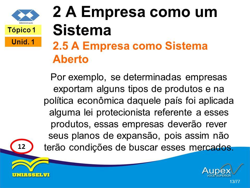 2 A Empresa como um Sistema 2.5 A Empresa como Sistema Aberto Por exemplo, se determinadas empresas exportam alguns tipos de produtos e na política ec