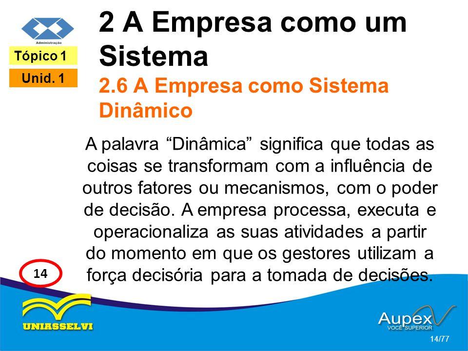 2 A Empresa como um Sistema 2.6 A Empresa como Sistema Dinâmico A palavra Dinâmica significa que todas as coisas se transformam com a influência de ou