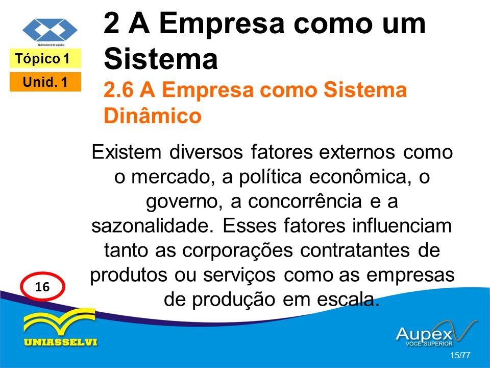 2 A Empresa como um Sistema 2.6 A Empresa como Sistema Dinâmico Existem diversos fatores externos como o mercado, a política econômica, o governo, a c