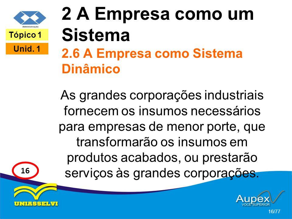 2 A Empresa como um Sistema 2.6 A Empresa como Sistema Dinâmico As grandes corporações industriais fornecem os insumos necessários para empresas de me