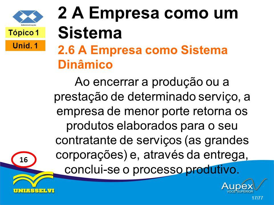 2 A Empresa como um Sistema 2.6 A Empresa como Sistema Dinâmico Ao encerrar a produção ou a prestação de determinado serviço, a empresa de menor porte