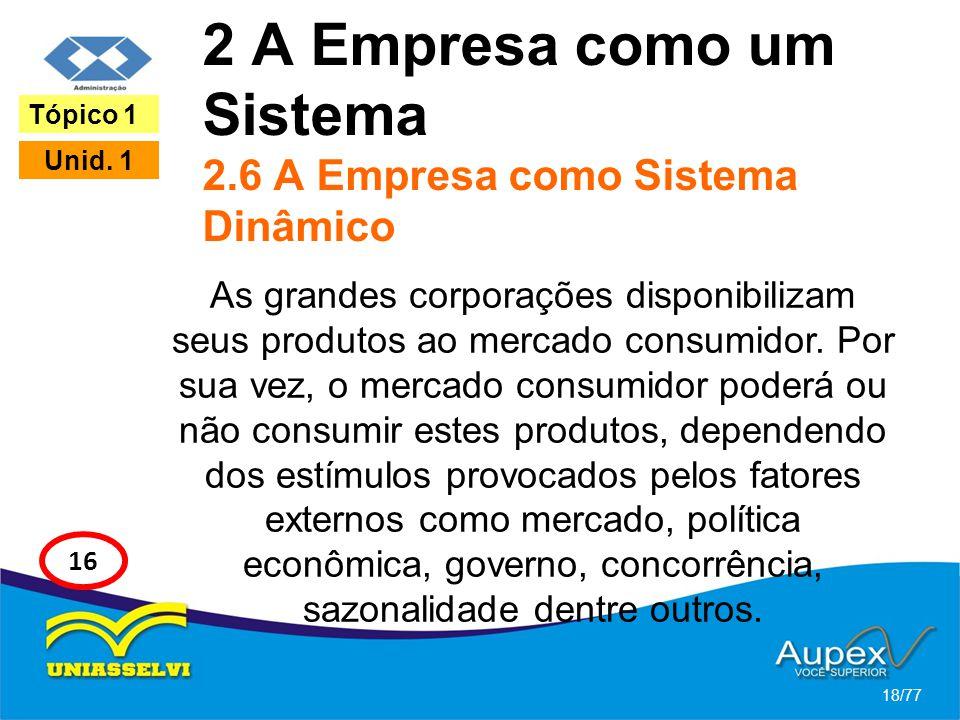 2 A Empresa como um Sistema 2.6 A Empresa como Sistema Dinâmico As grandes corporações disponibilizam seus produtos ao mercado consumidor. Por sua vez