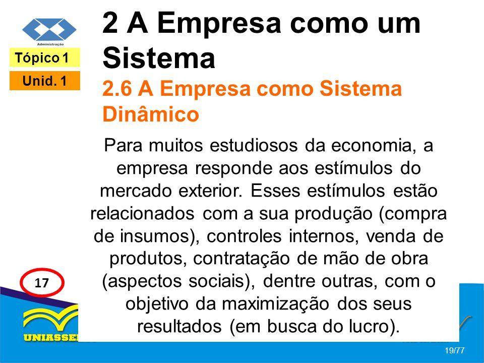 2 A Empresa como um Sistema 2.6 A Empresa como Sistema Dinâmico Para muitos estudiosos da economia, a empresa responde aos estímulos do mercado exteri