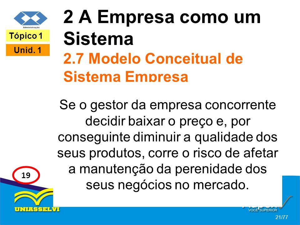 2 A Empresa como um Sistema 2.7 Modelo Conceitual de Sistema Empresa Se o gestor da empresa concorrente decidir baixar o preço e, por conseguinte dimi