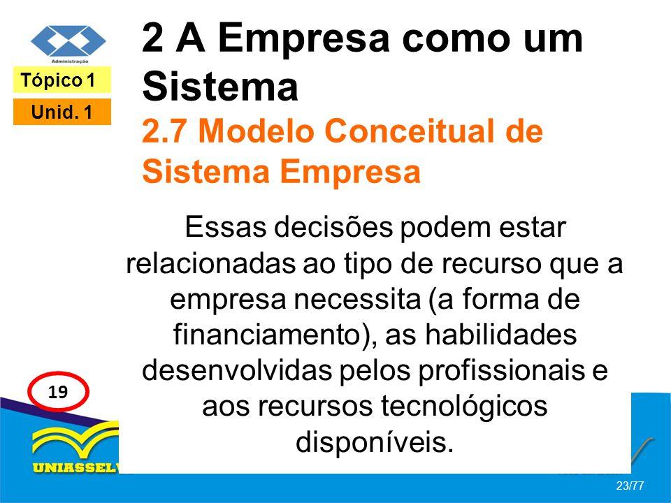 2 A Empresa como um Sistema 2.7 Modelo Conceitual de Sistema Empresa Essas decisões podem estar relacionadas ao tipo de recurso que a empresa necessit