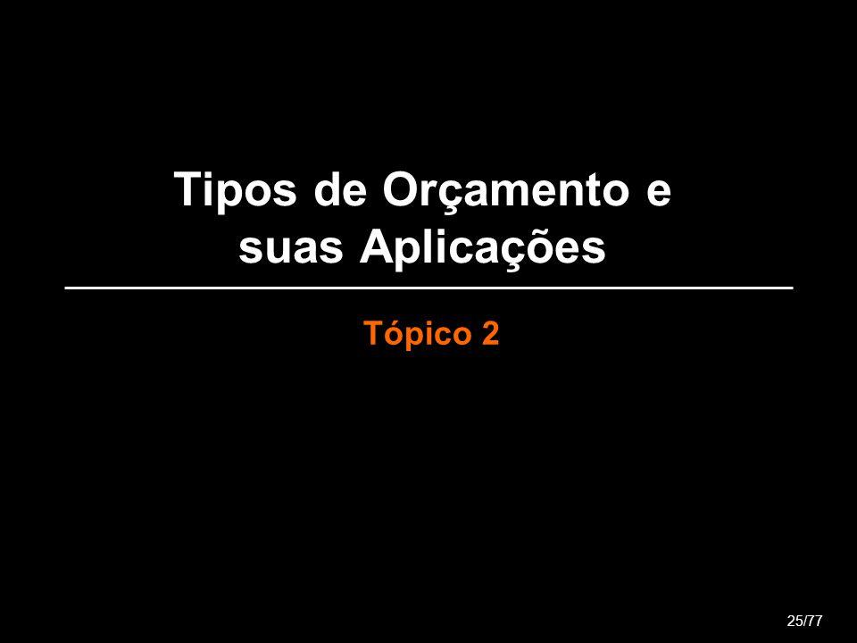 Tipos de Orçamento e suas Aplicações Tópico 2 25/77
