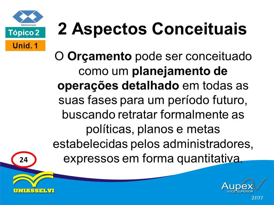 2 Aspectos Conceituais O Orçamento pode ser conceituado como um planejamento de operações detalhado em todas as suas fases para um período futuro, bus
