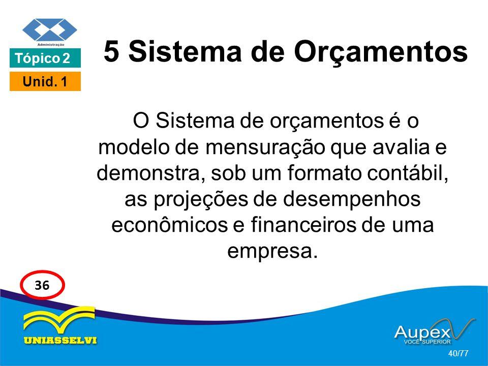 5 Sistema de Orçamentos O Sistema de orçamentos é o modelo de mensuração que avalia e demonstra, sob um formato contábil, as projeções de desempenhos