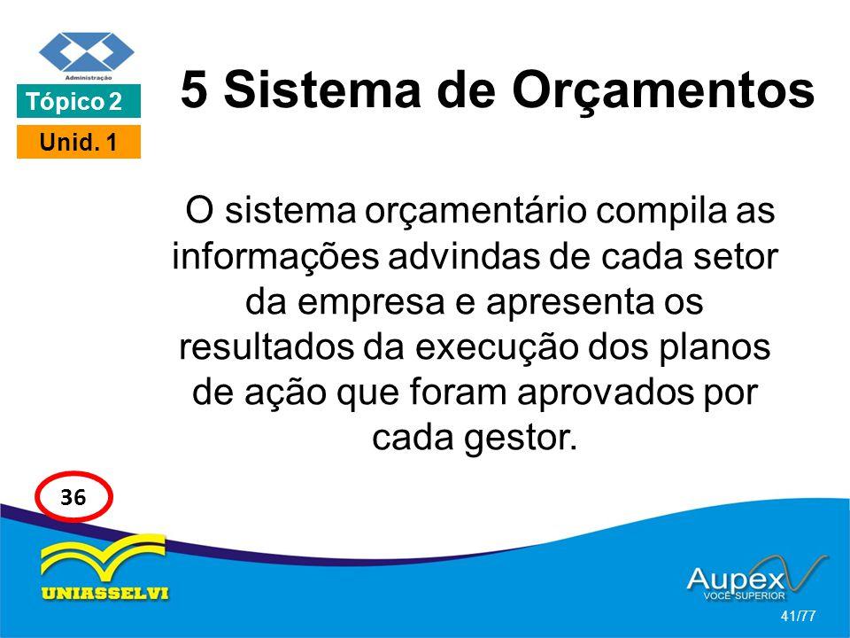 5 Sistema de Orçamentos O sistema orçamentário compila as informações advindas de cada setor da empresa e apresenta os resultados da execução dos plan