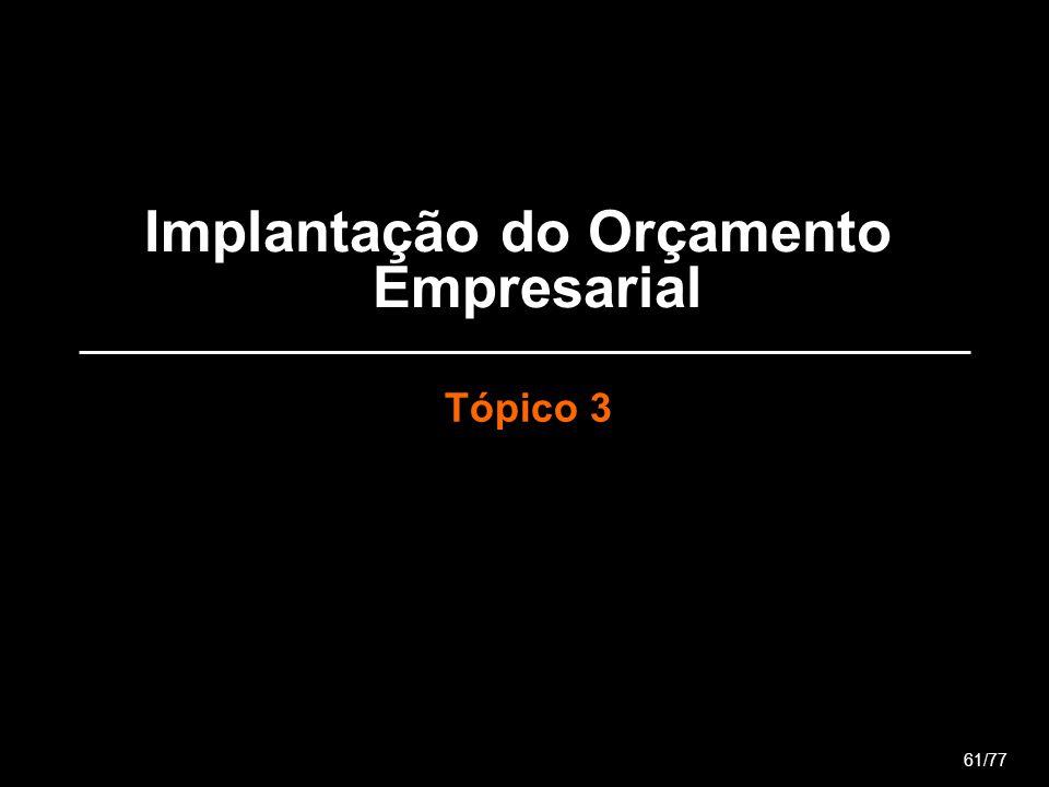 Implantação do Orçamento Empresarial Tópico 3 61/77