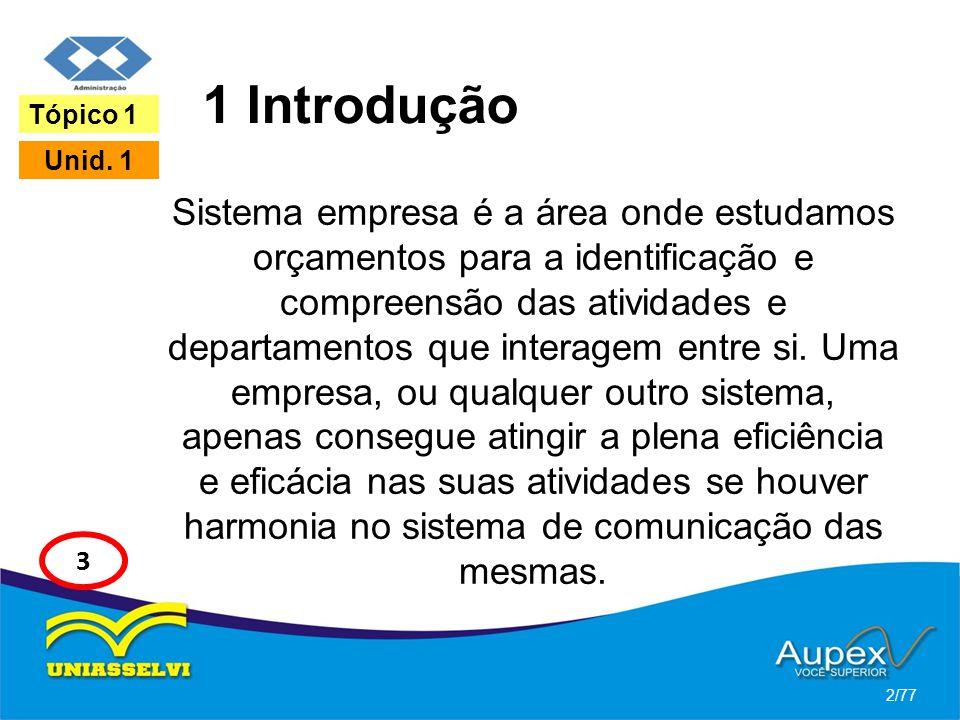 1 Introdução Sistema empresa é a área onde estudamos orçamentos para a identificação e compreensão das atividades e departamentos que interagem entre
