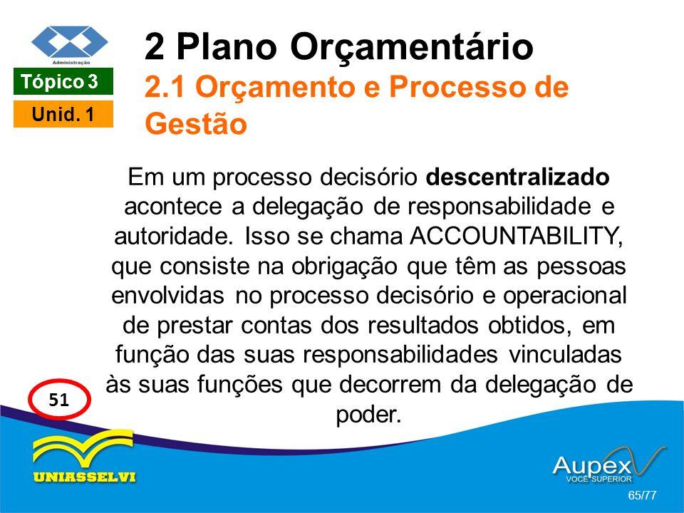 2 Plano Orçamentário 2.1 Orçamento e Processo de Gestão Em um processo decisório descentralizado acontece a delegação de responsabilidade e autoridade