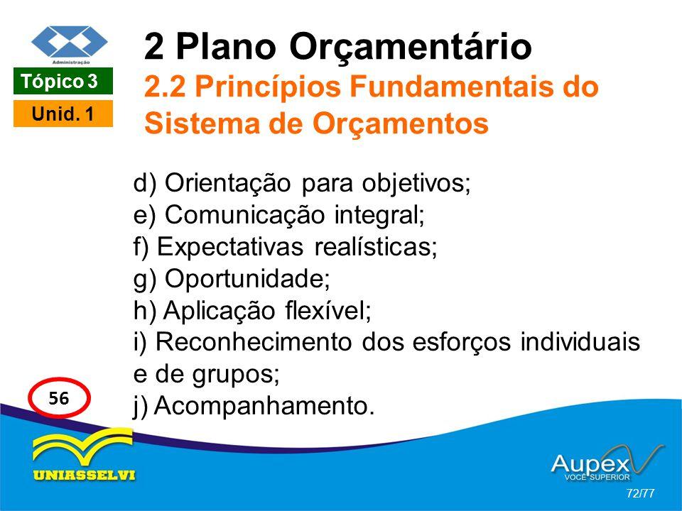 2 Plano Orçamentário 2.2 Princípios Fundamentais do Sistema de Orçamentos d) Orientação para objetivos; e) Comunicação integral; f) Expectativas realí