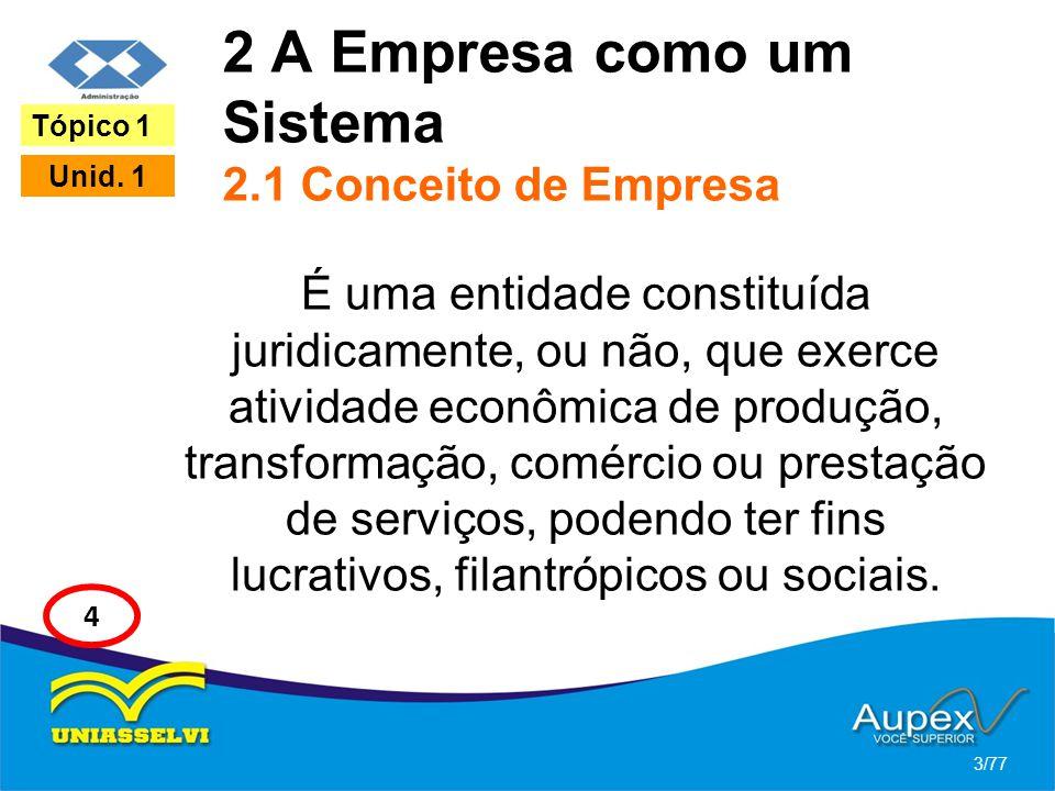 2 A Empresa como um Sistema 2.1 Conceito de Empresa É uma entidade constituída juridicamente, ou não, que exerce atividade econômica de produção, tran
