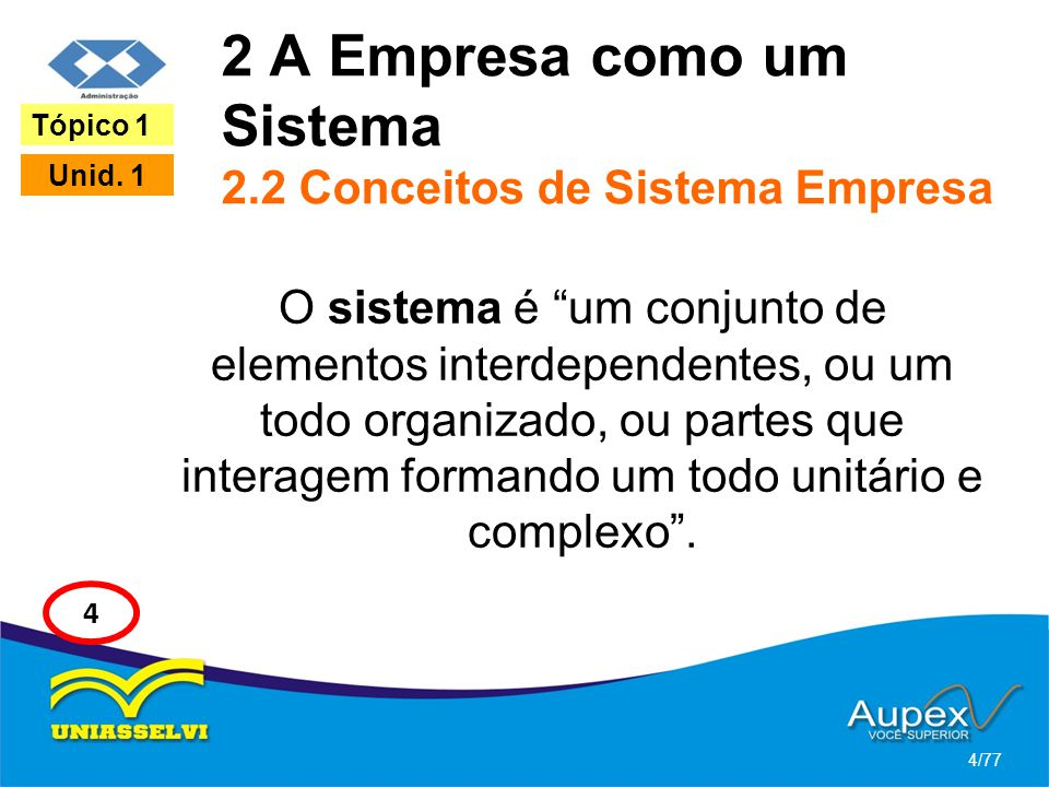 2 A Empresa como um Sistema 2.2 Conceitos de Sistema Empresa O sistema é um conjunto de elementos interdependentes, ou um todo organizado, ou partes q