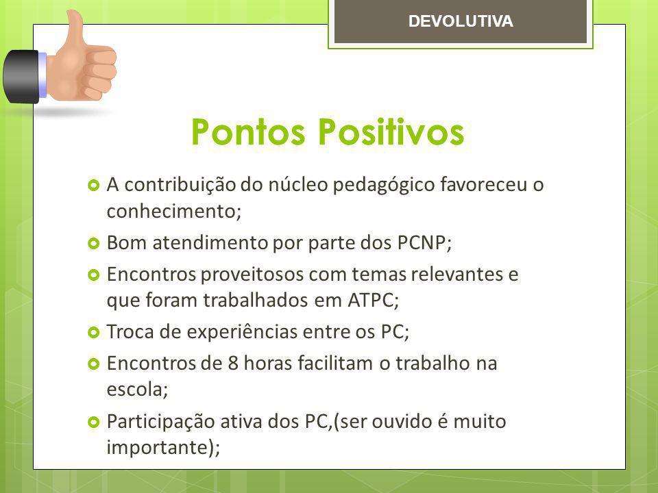 Pontos Positivos A contribuição do núcleo pedagógico favoreceu o conhecimento; Bom atendimento por parte dos PCNP; Encontros proveitosos com temas rel
