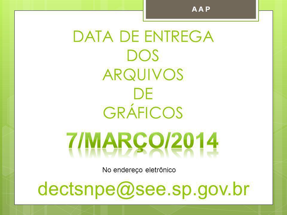 DATA DE ENTREGA DOS ARQUIVOS DE GRÁFICOS dectsnpe@see.sp.gov.br No endereço eletrônico A A P