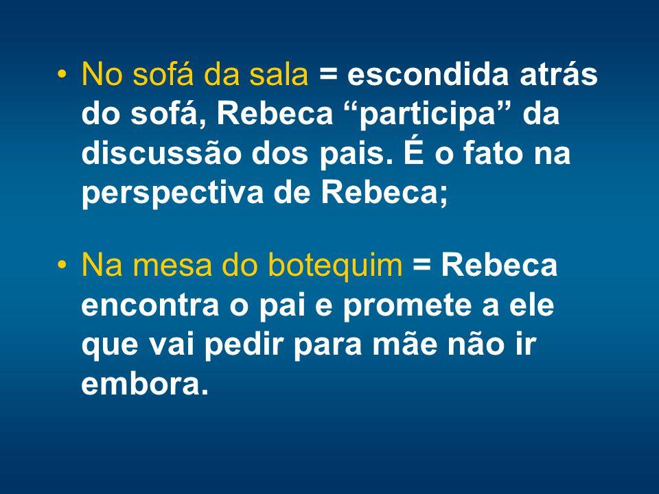 No sofá da sala = escondida atrás do sofá, Rebeca participa da discussão dos pais. É o fato na perspectiva de Rebeca; Na mesa do botequim = Rebeca enc