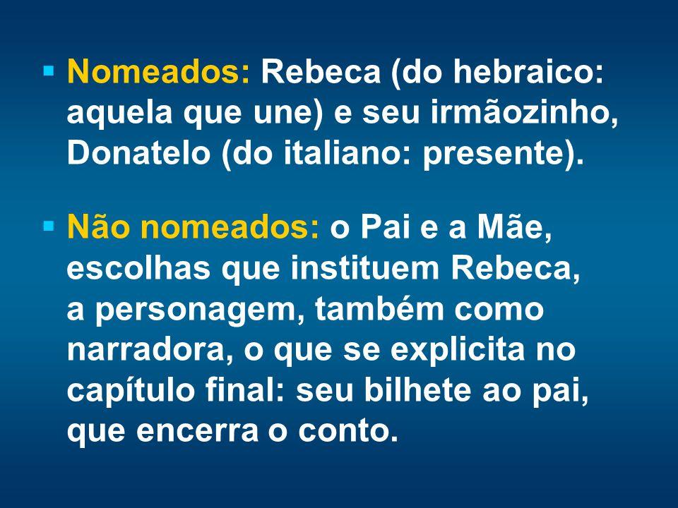 Nomeados: Rebeca (do hebraico: aquela que une) e seu irmãozinho, Donatelo (do italiano: presente). Não nomeados: o Pai e a Mãe, escolhas que instituem