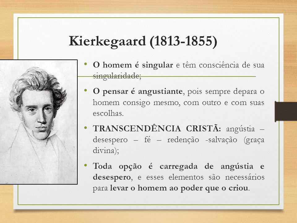 Kierkegaard (1813-1855) O homem é singular e têm consciência de sua singularidade; O pensar é angustiante, pois sempre depara o homem consigo mesmo, c