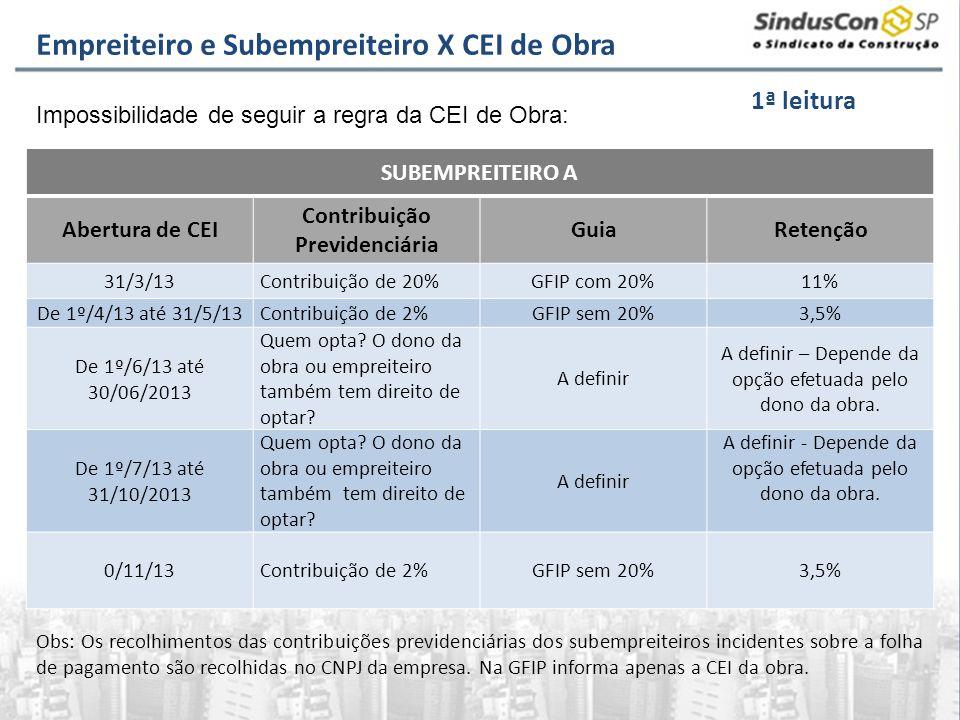 SUBEMPREITEIRO A Abertura de CEI Contribuição Previdenciária GuiaRetenção 31/3/13Contribuição de 20%GFIP com 20%11% De 1º/4/13 até 31/5/13Contribuição