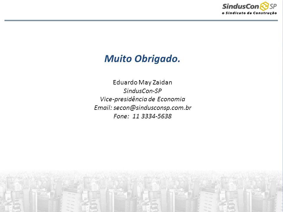Muito Obrigado. Eduardo May Zaidan SindusCon-SP Vice-presidência de Economia Email: secon@sindusconsp.com.br Fone: 11 3334-5638