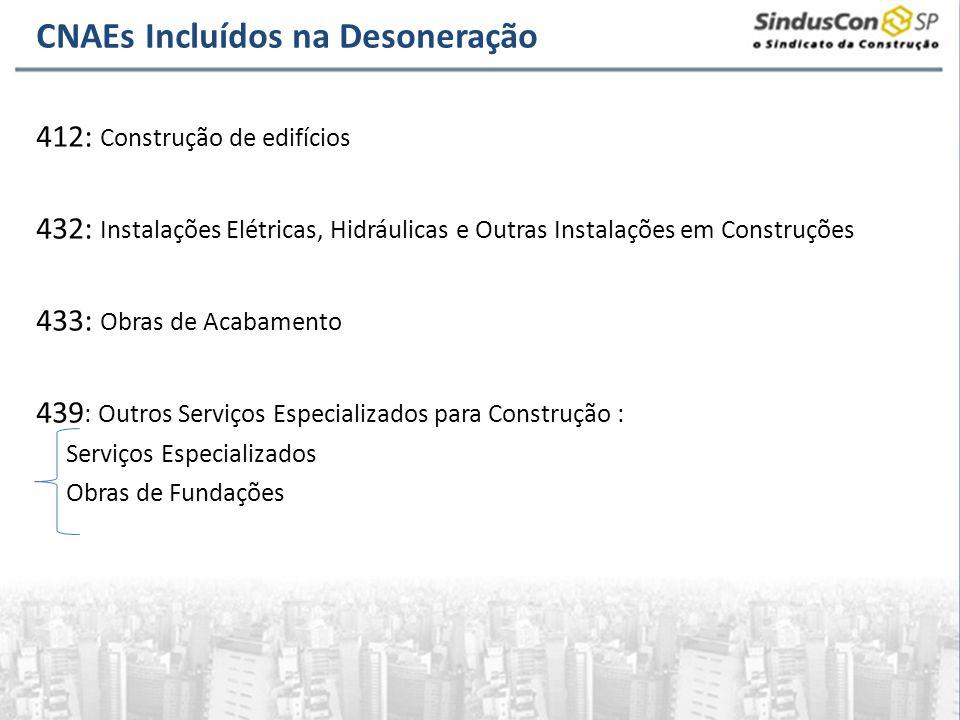 CNAEs Incluídos na Desoneração 412: Construção de edifícios 432: Instalações Elétricas, Hidráulicas e Outras Instalações em Construções 433: Obras de