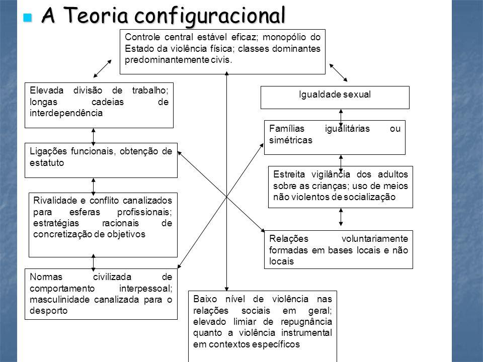 A Teoria configuracional A Teoria configuracional Controle central estável eficaz; monopólio do Estado da violência física; classes dominantes predomi