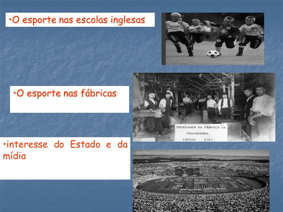 O esporte nas escolas inglesasO esporte nas escolas inglesas O esporte nas fábricasO esporte nas fábricas interesse do Estado e da mídia