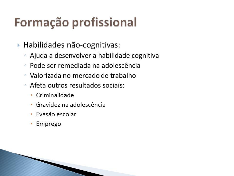 Habilidades não-cognitivas: Ajuda a desenvolver a habilidade cognitiva Pode ser remediada na adolescência Valorizada no mercado de trabalho Afeta outr