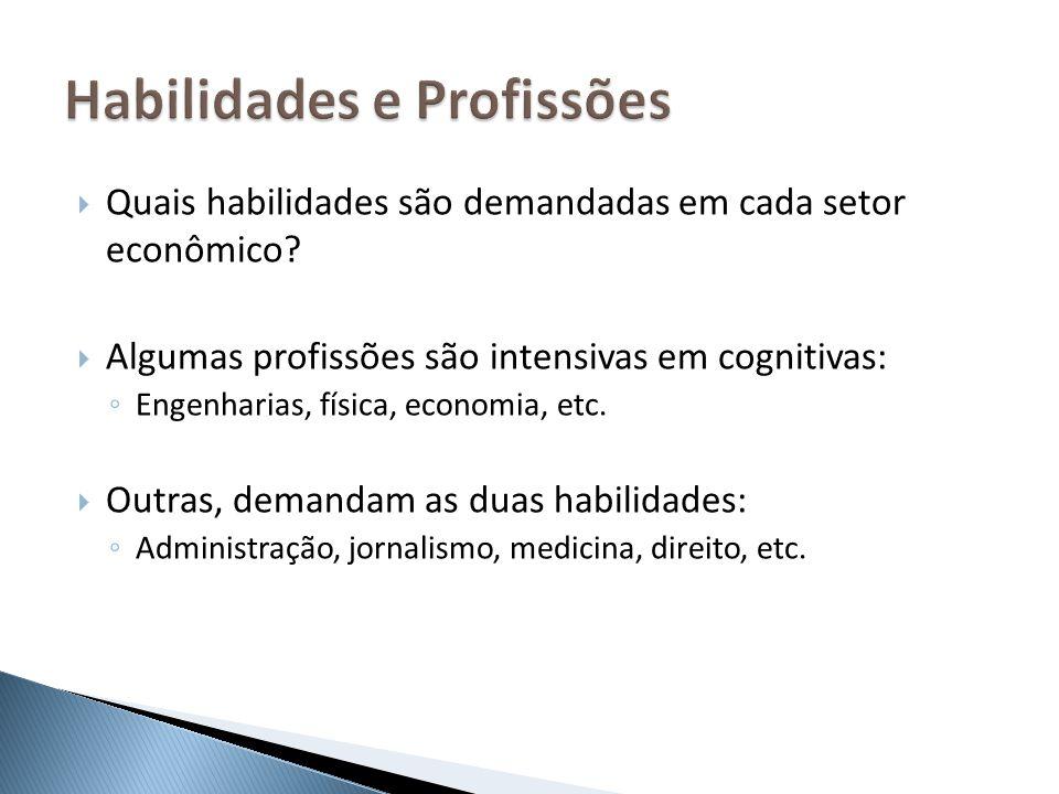 Quais habilidades são demandadas em cada setor econômico? Algumas profissões são intensivas em cognitivas: Engenharias, física, economia, etc. Outras,
