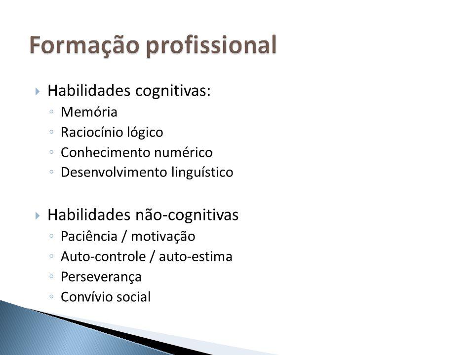 Habilidades cognitivas: Memória Raciocínio lógico Conhecimento numérico Desenvolvimento linguístico Habilidades não-cognitivas Paciência / motivação A