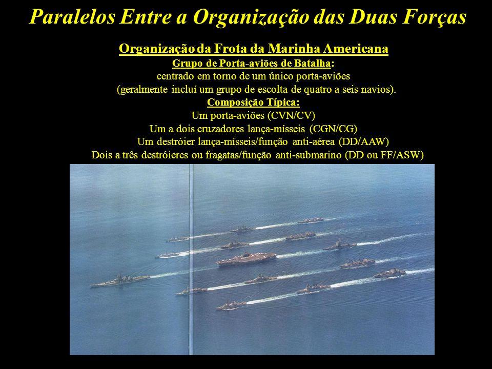 Paralelos Entre a Organização das Duas Forças DEFINIÇÕES: MARINHA AMERICANA: É o principal instrumento para a projeção do poderio militar e influência política dos EUA, mantendo controle sobre os mares, de modo a garantir a segurança de seu território no caso de hostilidades.