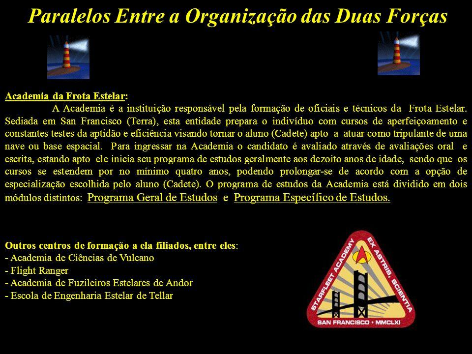 Paralelos Entre a Organização das Duas Forças Graduação da Frota Estelar: Frota Estelar segue o padrão da Marinha Americana.
