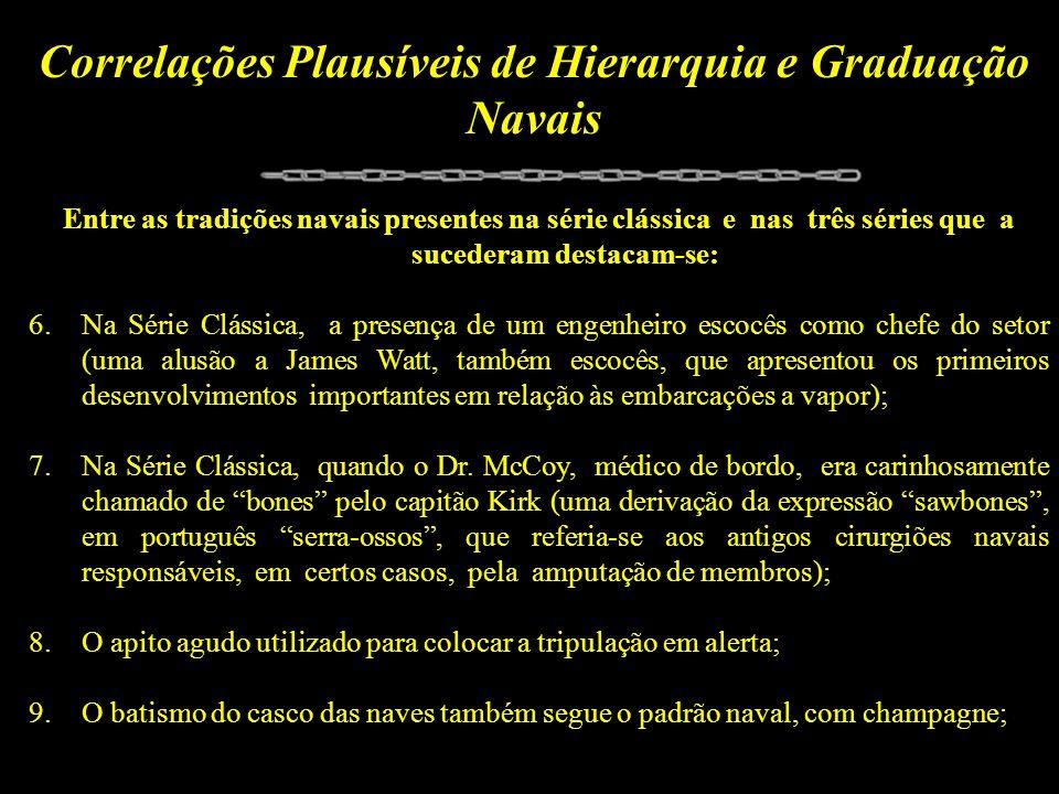 Correlações Plausíveis de Hierarquia e Graduação Navais Entre as tradições navais presentes na série clássica e nas três séries que a sucederam destac