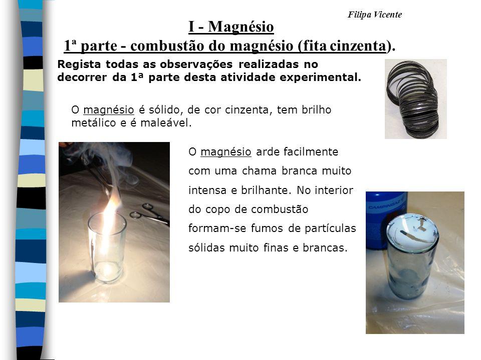 Filipa Vicente O magnésio é sólido, de cor cinzenta, tem brilho metálico e é maleável. O magnésio arde facilmente com uma chama branca muito intensa e
