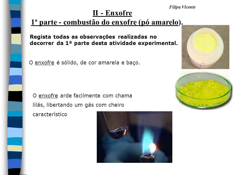 Filipa Vicente O enxofre é sólido, de cor amarela e baço. O enxofre arde facilmente com chama lilás, libertando um gás com cheiro característico II -