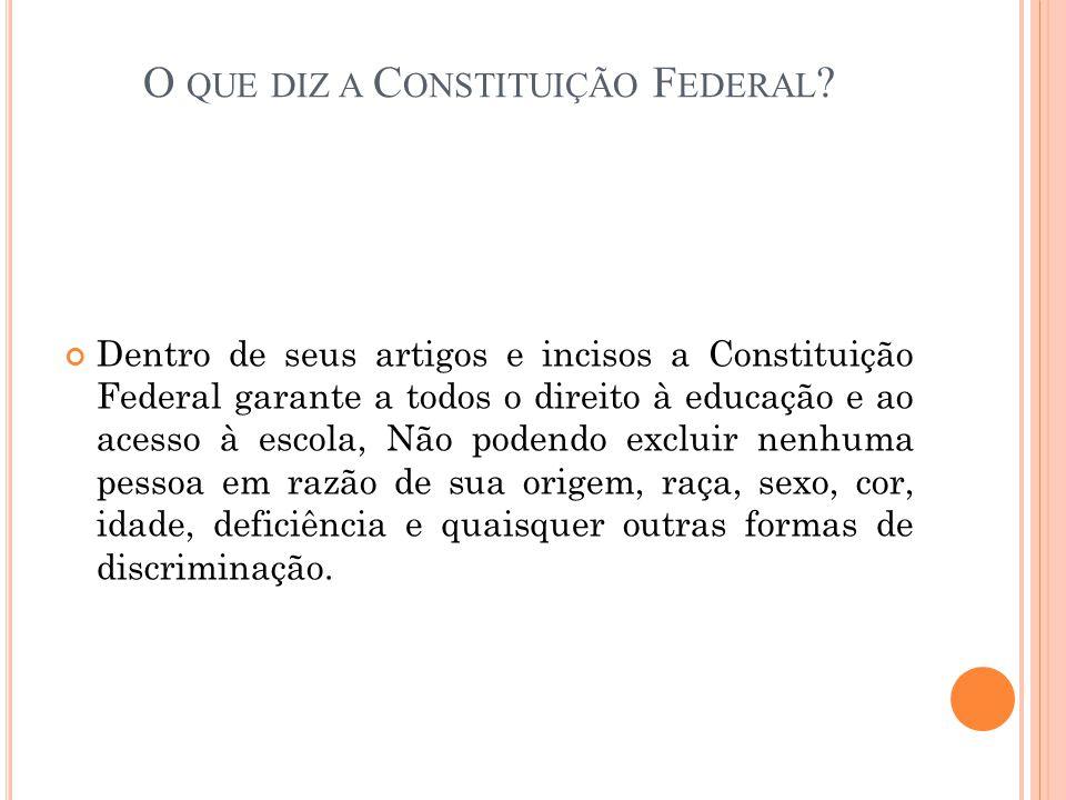 O QUE DIZ A C ONSTITUIÇÃO F EDERAL ? Dentro de seus artigos e incisos a Constituição Federal garante a todos o direito à educação e ao acesso à escola