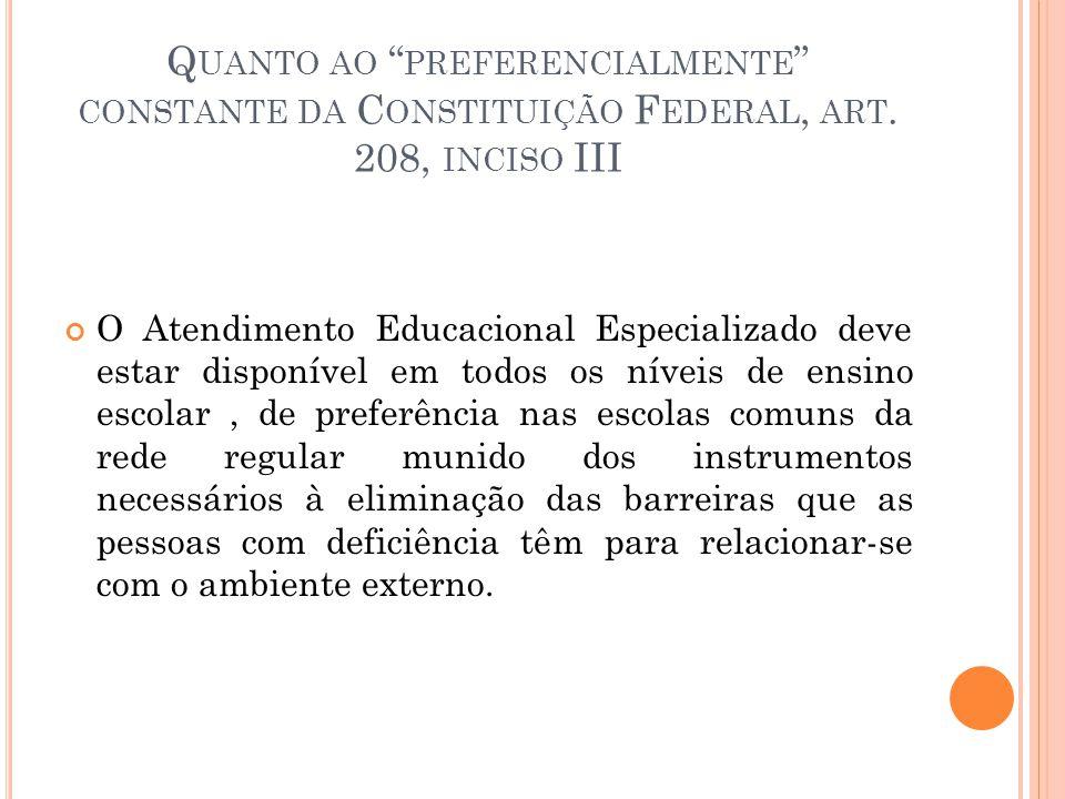 Q UANTO AO PREFERENCIALMENTE CONSTANTE DA C ONSTITUIÇÃO F EDERAL, ART. 208, INCISO III O Atendimento Educacional Especializado deve estar disponível e