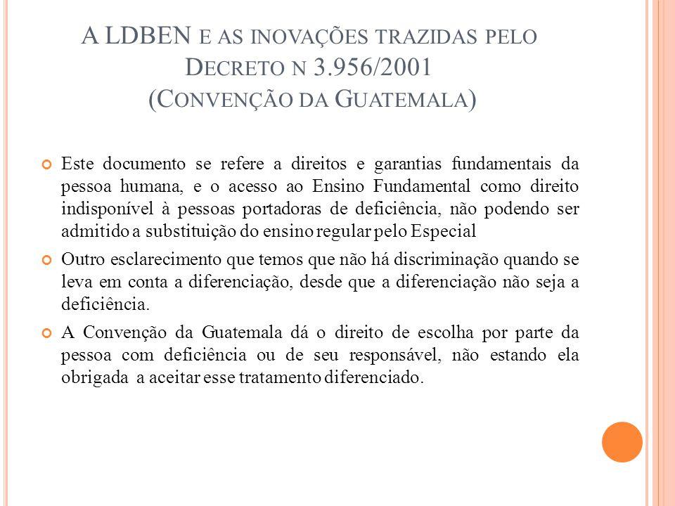 A LDBEN E AS INOVAÇÕES TRAZIDAS PELO D ECRETO N 3.956/2001 (C ONVENÇÃO DA G UATEMALA ) Este documento se refere a direitos e garantias fundamentais da