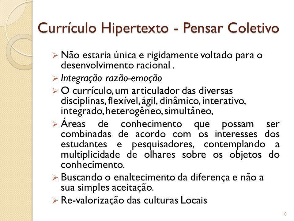 Currículo Hipertexto - Pensar Coletivo Não estaria única e rigidamente voltado para o desenvolvimento racional. Integração razão-emoção O currículo, u