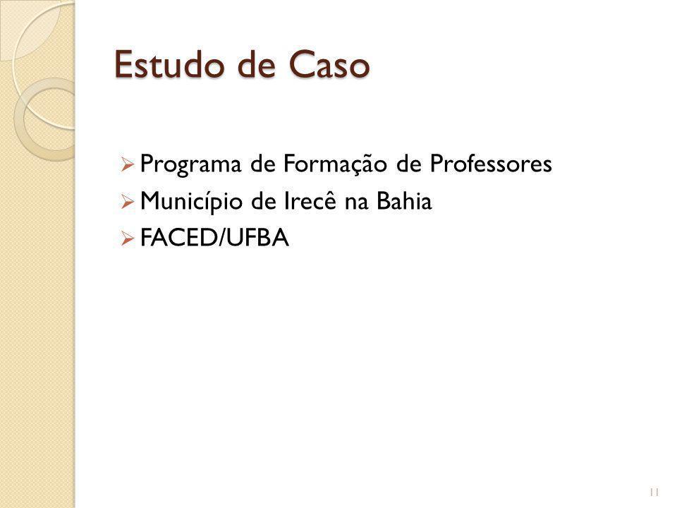 Estudo de Caso Programa de Formação de Professores Município de Irecê na Bahia FACED/UFBA 11