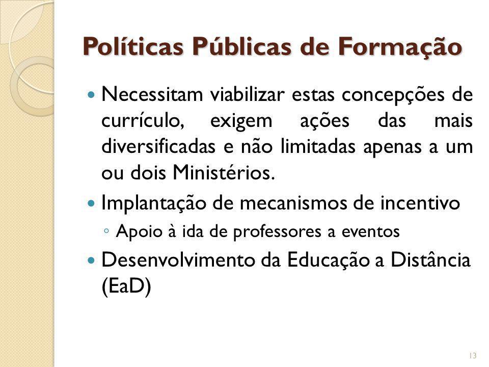 Políticas Públicas de Formação Necessitam viabilizar estas concepções de currículo, exigem ações das mais diversificadas e não limitadas apenas a um o
