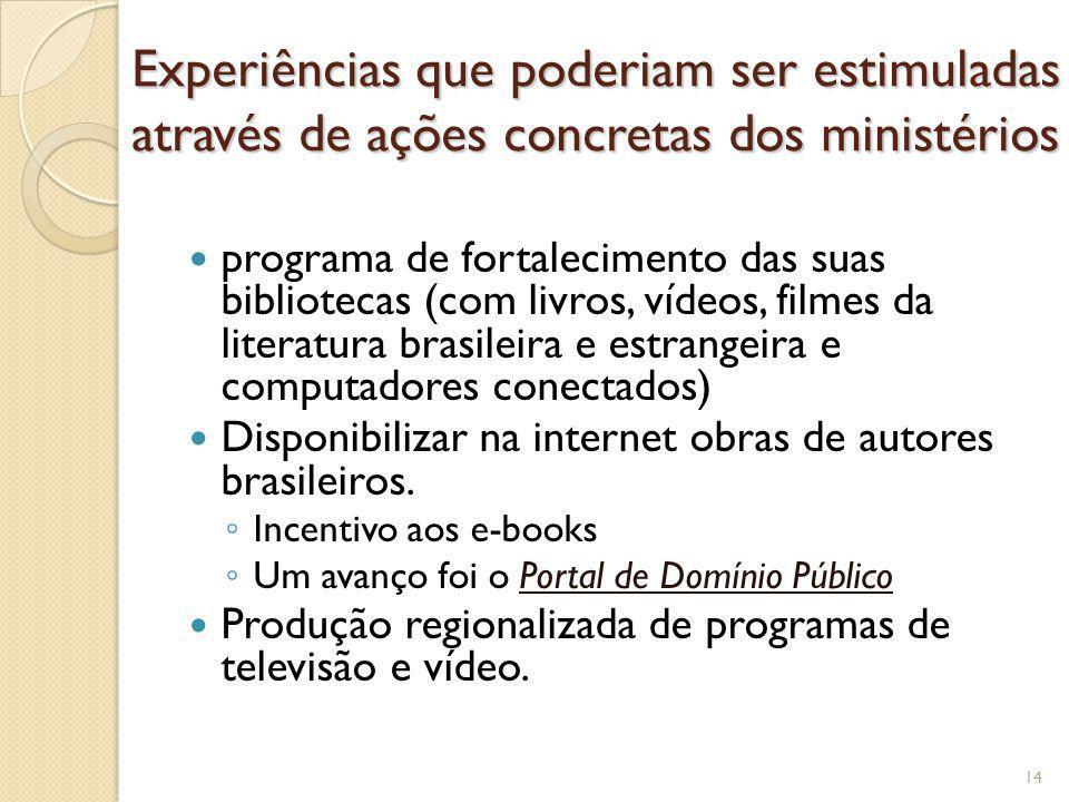 Experiências que poderiam ser estimuladas através de ações concretas dos ministérios programa de fortalecimento das suas bibliotecas (com livros, víde