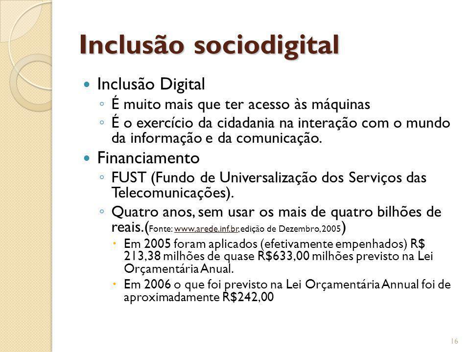 Inclusão sociodigital Inclusão Digital É muito mais que ter acesso às máquinas É o exercício da cidadania na interação com o mundo da informação e da